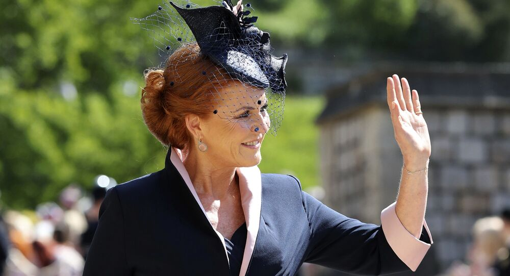 Sarah Ferguson arrives for the wedding ceremony of Prince Harry and Meghan Markle at St. George's Chapel in Windsor Castle in Windsor, near London, England, Saturday, May 19, 2018