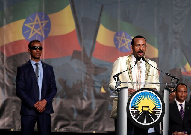 Ethiopia's new Prime Minister Abiy Ahmed addresses members of the diaspora in Washington DC on Saturday, July 28
