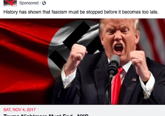 Anti-Trump Facebook event posted by the Resisters page, which has been accused of being set up by the alleged Russian troll farm Internet Research Agency.