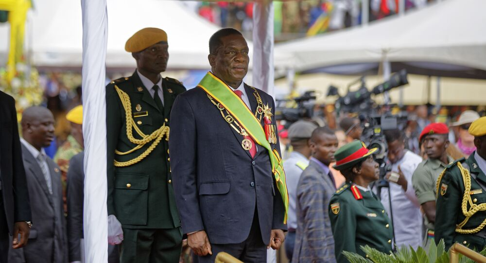 Emmerson Mnangagwa inspects the military parade after being sworn in as President at the presidential inauguration ceremony in the capital Harare, Zimbabwe Friday, Nov. 24, 2017