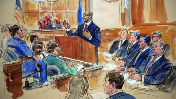 This courtroom sketch depicts Paul Manafort, seated right row second from right, together with his lawyers, the jury, seated left, and the U.S. District Court Judge T.S. Ellis III, back center, listening to Assistant U.S. Attorney Uzo Asonye, standing, during opening arguments in the trial of President Donald Trump's former campaign chairman Manafort's on tax evasion and bank fraud charges. - Sputnik International