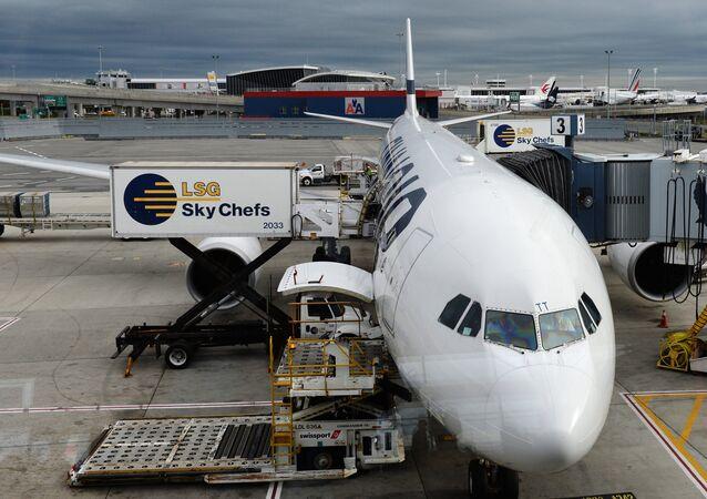 A Finnair aircraft is seen at John F. Kennedy International Airport in New York