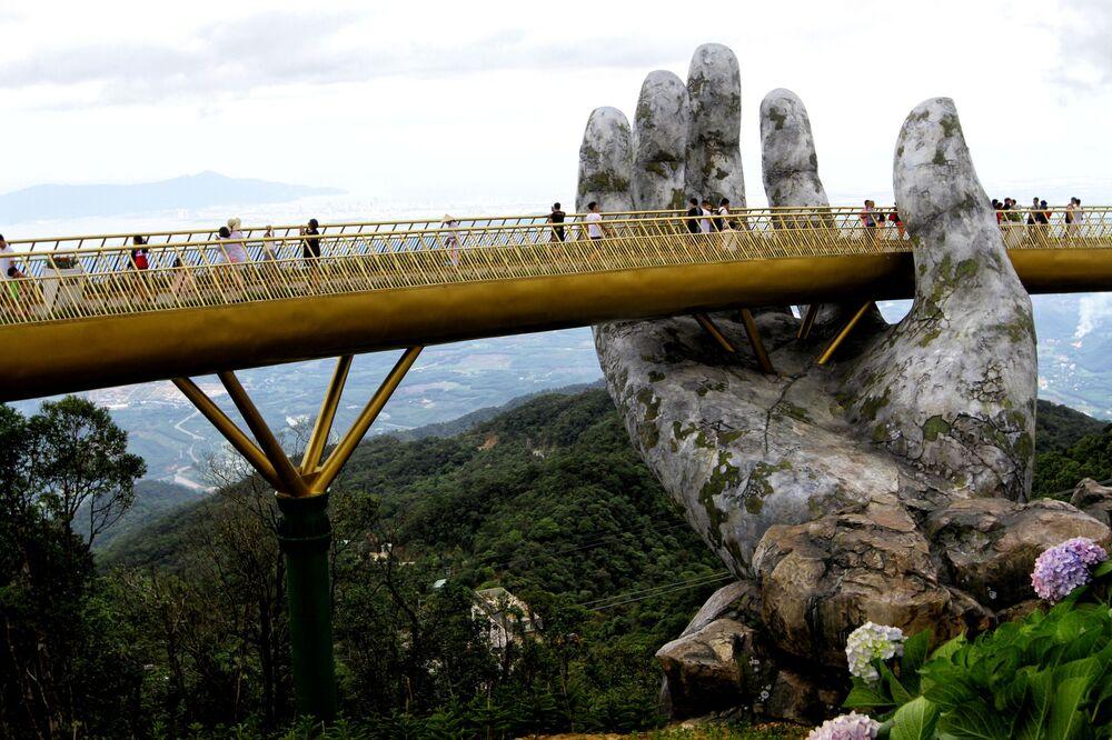 Golden Bridge Cau Vang in Vietnam Held by Giant Concrete Hands