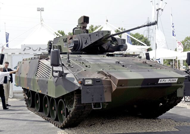 A German S Pz Puma equipped with an effective vision concept and a 30mm Mauser canon is on display at the Eurosatory arms show, in Villepinte, outside Paris, Wednesday, June 14, 2006. Several tank makers said the Iraq war has provided a welcome injection of ideas and cash for research into future tanks.