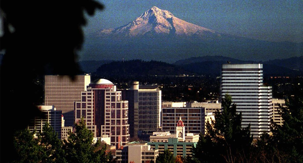 Picturesque Mt. Hood looms over downtown Portland, OR