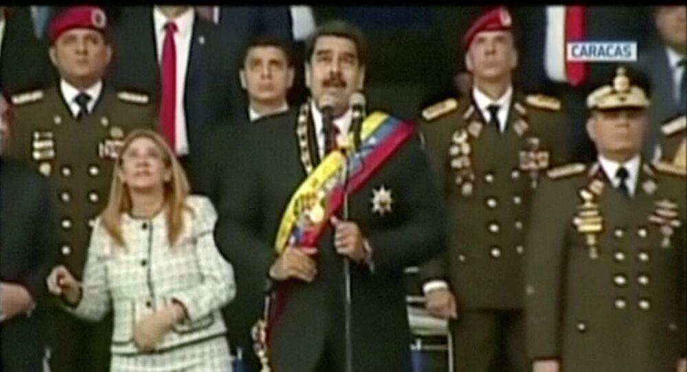 Venezuelan President Nicolas Maduro reacts during an event which was interrupted, in this still frame taken from video August 4, 2018, Caracas, Venezuela.