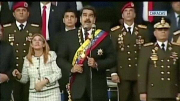 Venezuelan President Nicolas Maduro reacts during an event which was interrupted, in this still frame taken from video August 4, 2018, Caracas, Venezuela. - Sputnik International
