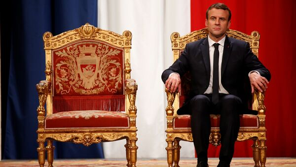 French President Emmanuel Macron takes part in an official ceremony at Paris' city hall after his formal inauguration as French President on May 14, 2017 in Paris - Sputnik International