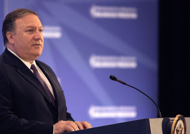 US Secretary of State Mike Pompeo speaks at a press conference at the Ministerial to Advance Religious Freedom at the State Department in Washington, US, July 26, 2018.