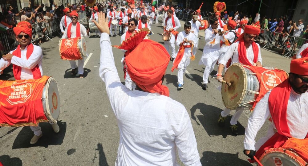 Performers of traditional drumming march during the India Day parade (File)