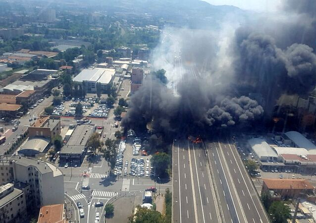 A general view of the motorway after an accident caused a large explosion and fire at Borgo Panigale, on the outskirts of Bologna, Italy, August 6, 2018