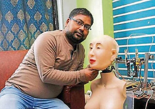 Ranjit Srivastava with his Hindi speaking humanoid robot  Rashmi