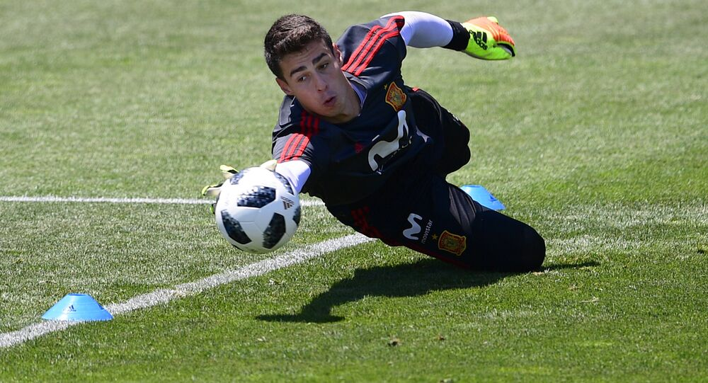 Spain's goalkeeper Kepa Arrizabalaga attends a training session at Krasnodar Academy on June 21, 2018, during the Russia 2018 World Cup football tournament