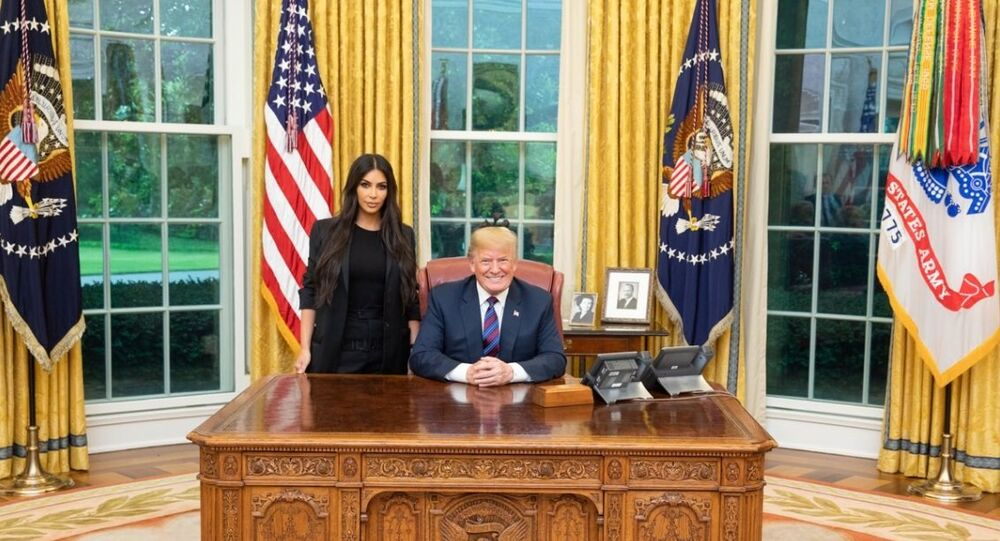 The US President Donald Trump meeting Kim Kardashian in the White House