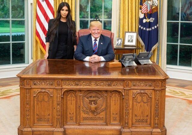 The US President Donald Trump meeting Kim Kardashian in the White House