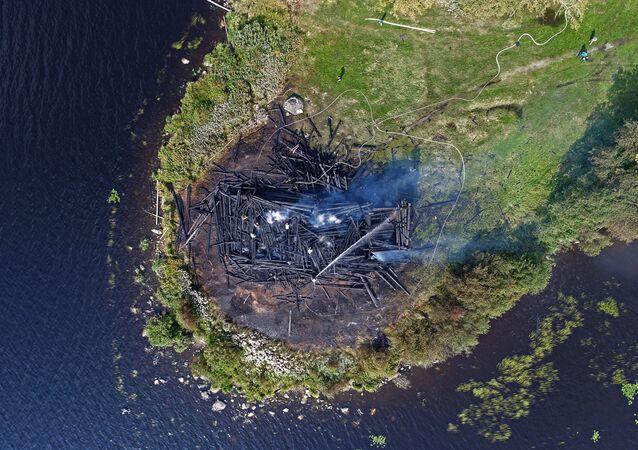 Burned Church of Assumption in the Russian city of Kondopoga, Karelia