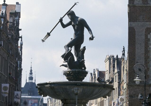 The Neptune fountain, one of the symbols of Gdansk. Built in 1633.