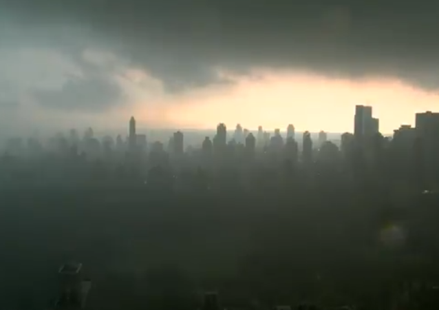 Storm clouds swallow New York City
