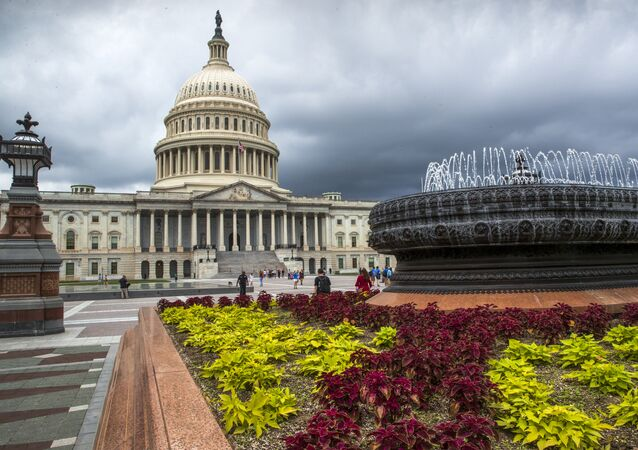 East Front of the U.S. Capitol in Washington is seen under stormy skies
