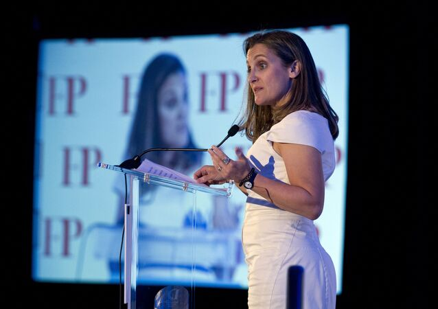 Canadian Minister of Foreign Affairs Chrystia Freeland speaks after receiving the Foreign Policy's Diplomat of the Year 2018 award on Wednesday, June 13, 2018, in Washington