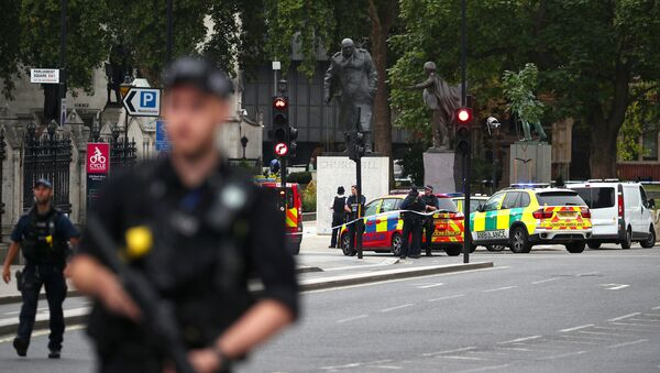 Armed police stand in the street after a car crashed outside the Houses of Parliament in Westminster, London, Britain, August 14, 2018 - Sputnik International