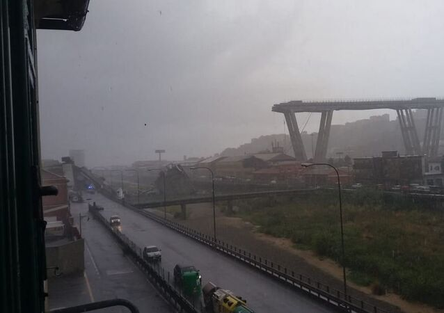 A motorway bridge which collapsed on Tuesday near the northern Italian port city of Genoa