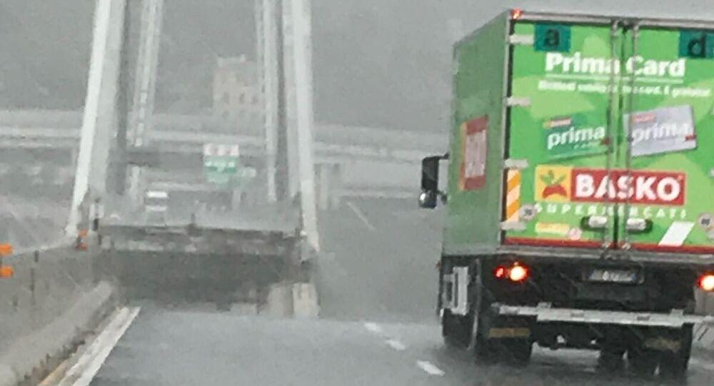 A truck on fallen bridge