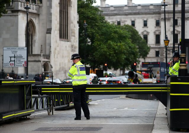 Police officers stand at the vehicle barrier to the Houses of Parliament where a car crashed after knocking down cyclists and pedestrians yesterday in Westminster, London, Britain, August 15, 2018