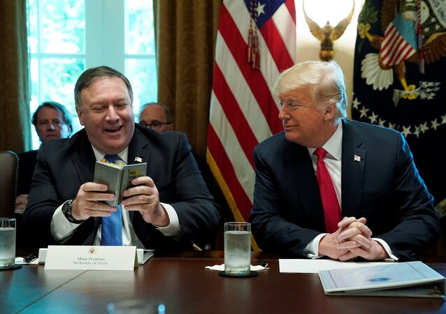 U.S. Secretary of State Mike Pompeo and U.S. President Donald Trump look at Pompeo's West Point cadet handbook from his time at the U.S. Military Academy in the 1980s after Pompeo read a prayer from the book at the start of a cabinet meeting at the White House in Washington, U.S., August 16, 2018.