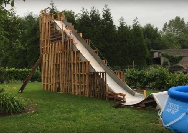 Water slide homemade fail