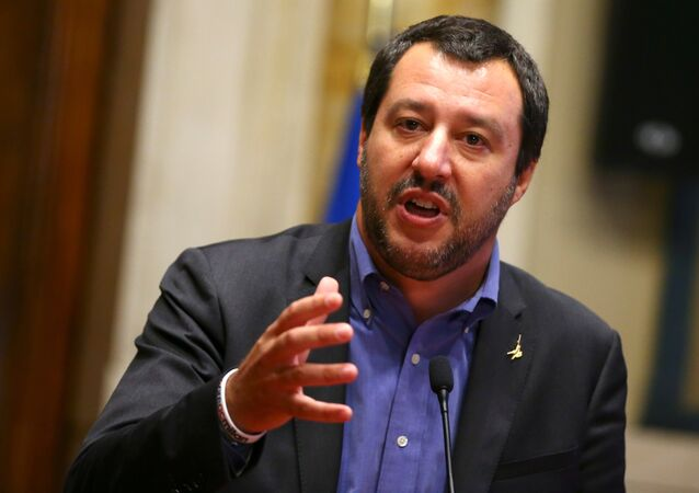 League party leader Matteo Salvini speaks at the media after a round of consultations with Italy's newly appointed Prime Minister Giuseppe Conte at the Lower House in Rome, Italy, May 24, 2018