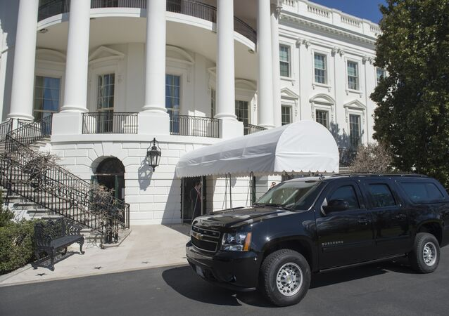 A SUV is parked outside of the South Portico on the South Lawn of the White House in Washington, DC, March 11, 2017.