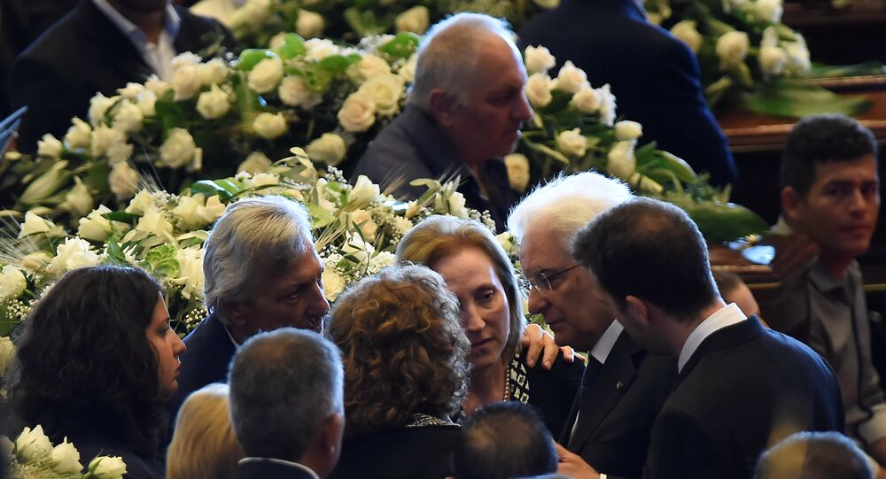 Italian President Sergio Mattarella is seen before the state funeral of the victims of the Morandi Bridge collapse.