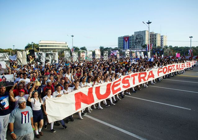 People march during a May Day rally in Havana, Cuba