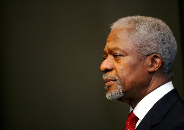 United Nations Secretary-General Kofi Annan at a news conference in Cape Town March 14, 2006.