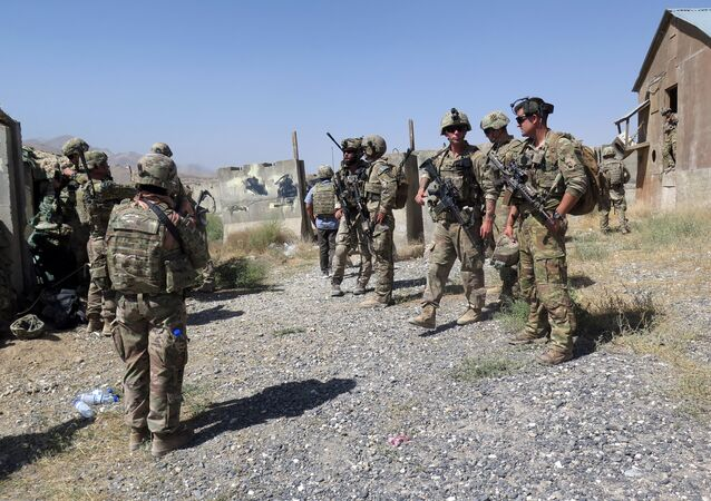 U.S. military advisers from the 1st Security Force Assistance Brigade are seen at an Afghan National Army base in Maidan Wardak province, Afghanistan August 6, 2018