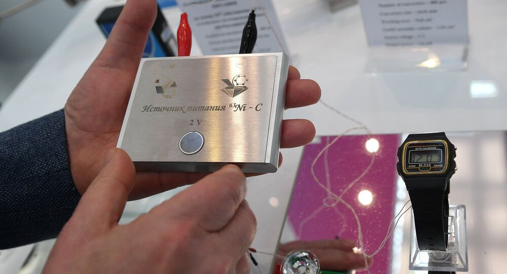 Russian 2v nuclear battery (service life up to 50 years) displayed at the 9th International Forum ATOMEXPO in Moscow
