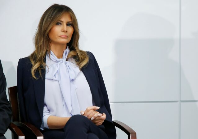 "U.S. first lady Melania Trump waits to speak at the Federal Partners in Bullying Prevention (FPBP) Cyberbullying Prevention Summit on ""the positive and negative effects of social media on youth"" in Rockville, Maryland, U.S., August 20, 2018."