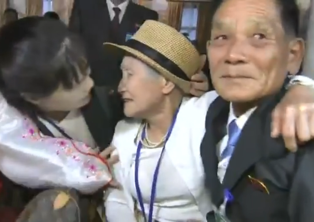 Reunion between Lee Keum-seom, 92, and her son, Ri Sang Chol, separated since the Korean War, at the Kumgang resort in North Korea, August 20, 2018