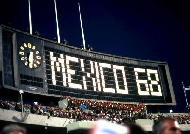 Opening of the 1968 Summer Olympic Games at the Estadio Olímpico Universitario in Mexico City