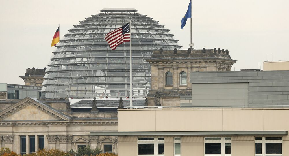 American flag flies on top of the U.S. embassy in front of the Reichstag building that houses the German Parliament, the Bundestag, in Berlin, Germany (File)
