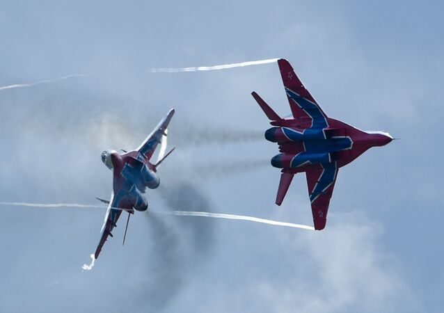 MiG-29 jet fighters of Russian aerobatic team Strizhi (Swifts) at the 4th international military technical forum Army 2018