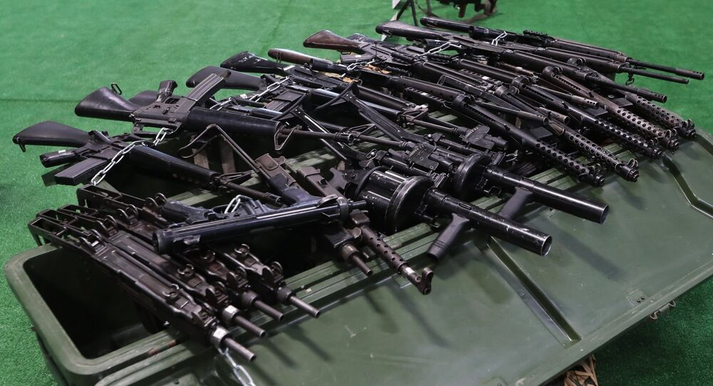 Rifles shown at the exhibition of weapons taken from Syrian militants as part of the 4th International Military Technical Forum, Army 2018, in Kubinka