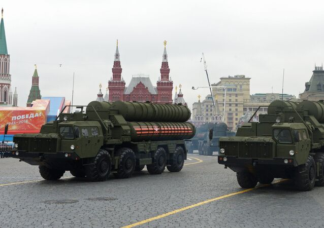 Transporters-launchers for S-400 Triumf missile systems at the final rehearsal of the military parade to mark the 73rd anniversary of Victory in the Great Patriotic War