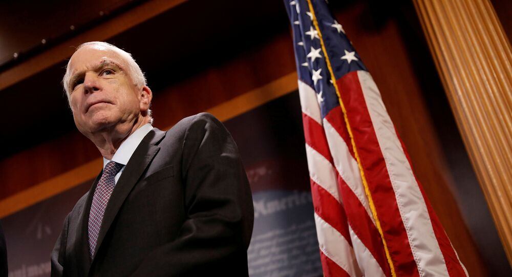 Senator John McCain (R-AZ) looks on during a press conference about his resistance to the so-called Skinny Repeal of the Affordable Care Act on Capitol Hill in Washington, U.S., July 27, 2017