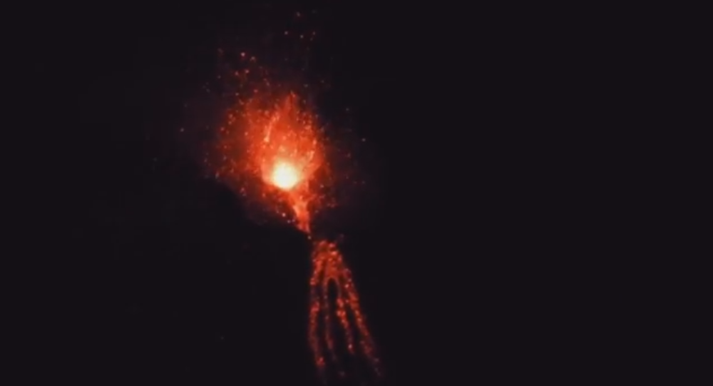 Italian Mount Etna Erupts with Lava Bombs
