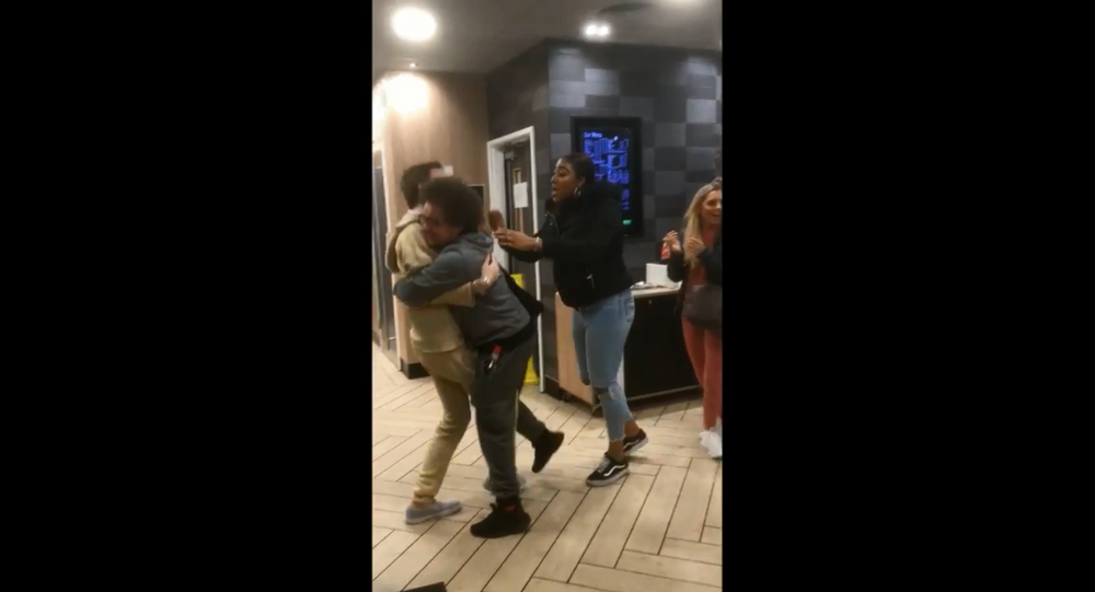 McDonald's customers caught initiating a brawl with restaurant employees over reports that the bathroom had no toilet paper