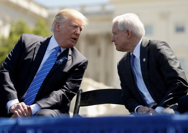 U.S. President Donald Trump and Attorney General Jeff Sessions attend the National Peace Officers Memorial Service