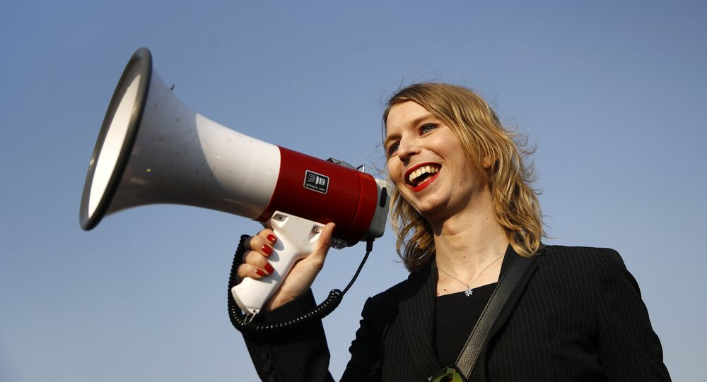 In this April 18, 2018 photo, Chelsea Manning addresses participants at an anti-fracking rally in Baltimore