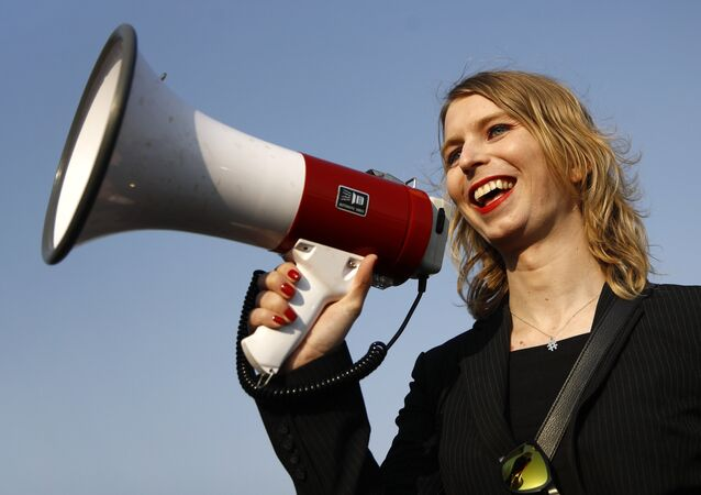 In this April 18, 2018 photo, Chelsea Manning addresses participants at an anti-fracking rally in Baltimore. It's one of the most unconventional U.S. Senate bids in recent memory: Manning, America's most famous convicted leaker, is seeking to win Maryland's Democratic primary